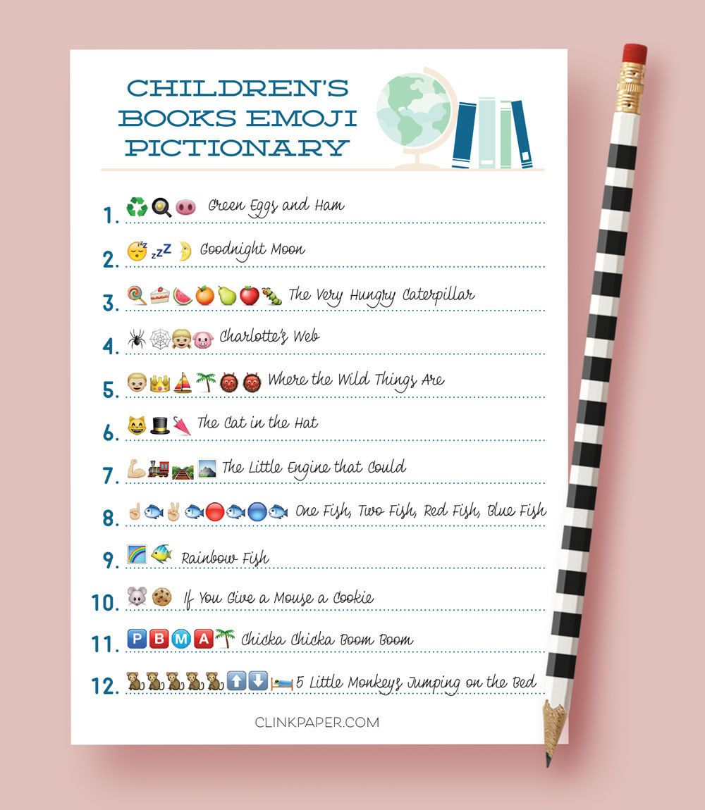 children u0027s books emoji pictionary baby shower game by clinkpaper