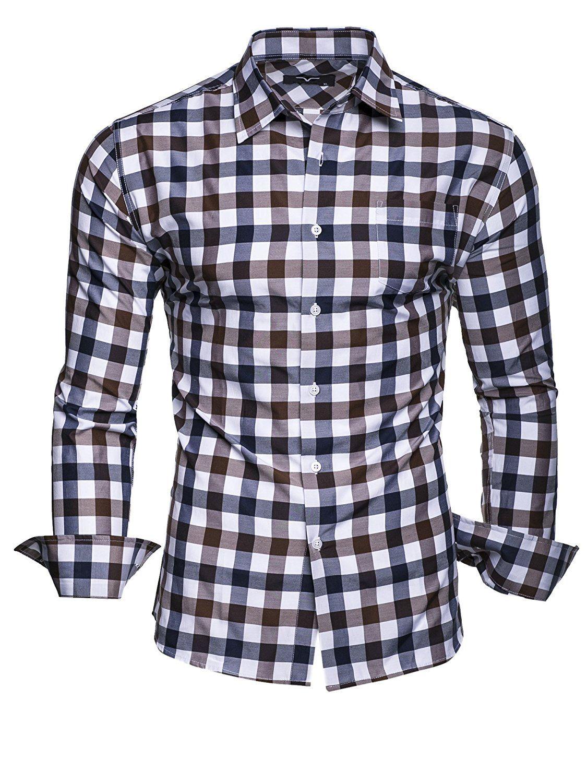 Shoppen Sie Kayhan Herren Hemd Slim Fit Bugelleicht Kariert Doppelfarbig Braun S Auf Amazon De Freizeit Herren Hemden Slim Fit Hemd Herren Freizeithemden