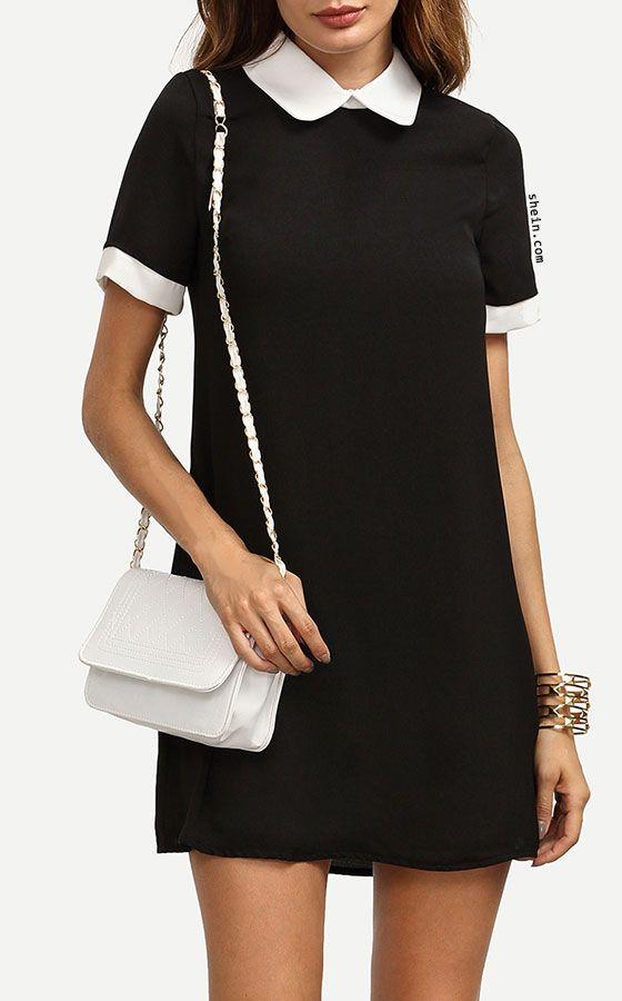 Contrast Peter Pan Collar Dress | ideas para ponerse | Pinterest ...