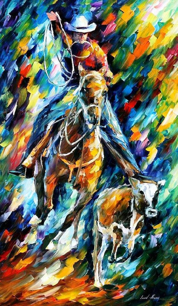 Cowboy Palette Knife Contemporary Wall Art Decoration Textured Oil Painting On Canvas By Leonid Afrem Horse Oil Painting Cowboy Wall Art Oil Painting Texture