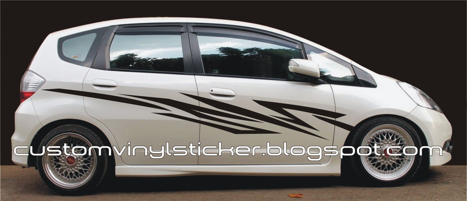 Car sticker design pinterest - Honda Jazz Rs White Sporty Black Striping Sticker Concept