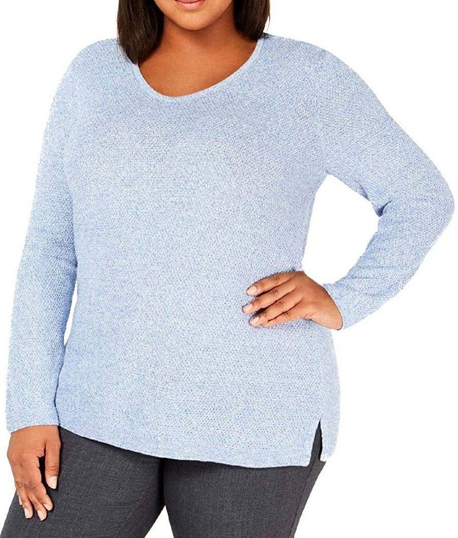 (Advertisement)eBay- Karen Scott Women's Sweater Powder Blue Size 1X Plus Textured Pullover $49 #055