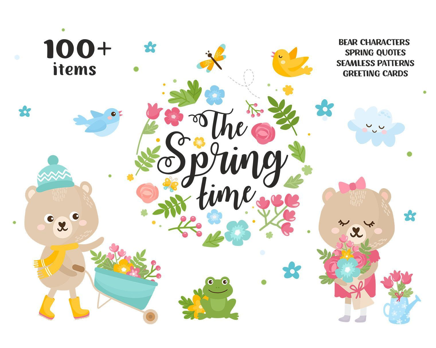 Cute Spring Clipart Vector Illustration Set Nursery Art Little Animals Clipart Bear Woodland Forest Flowers K Etsy Nursery Art Nursery Art Animal Clipart