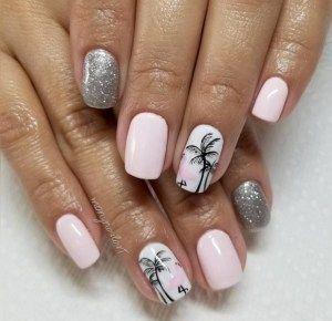 Mooie pastel roze en glitter zomernagels DIY. Palmboom en flamingo is hot s …