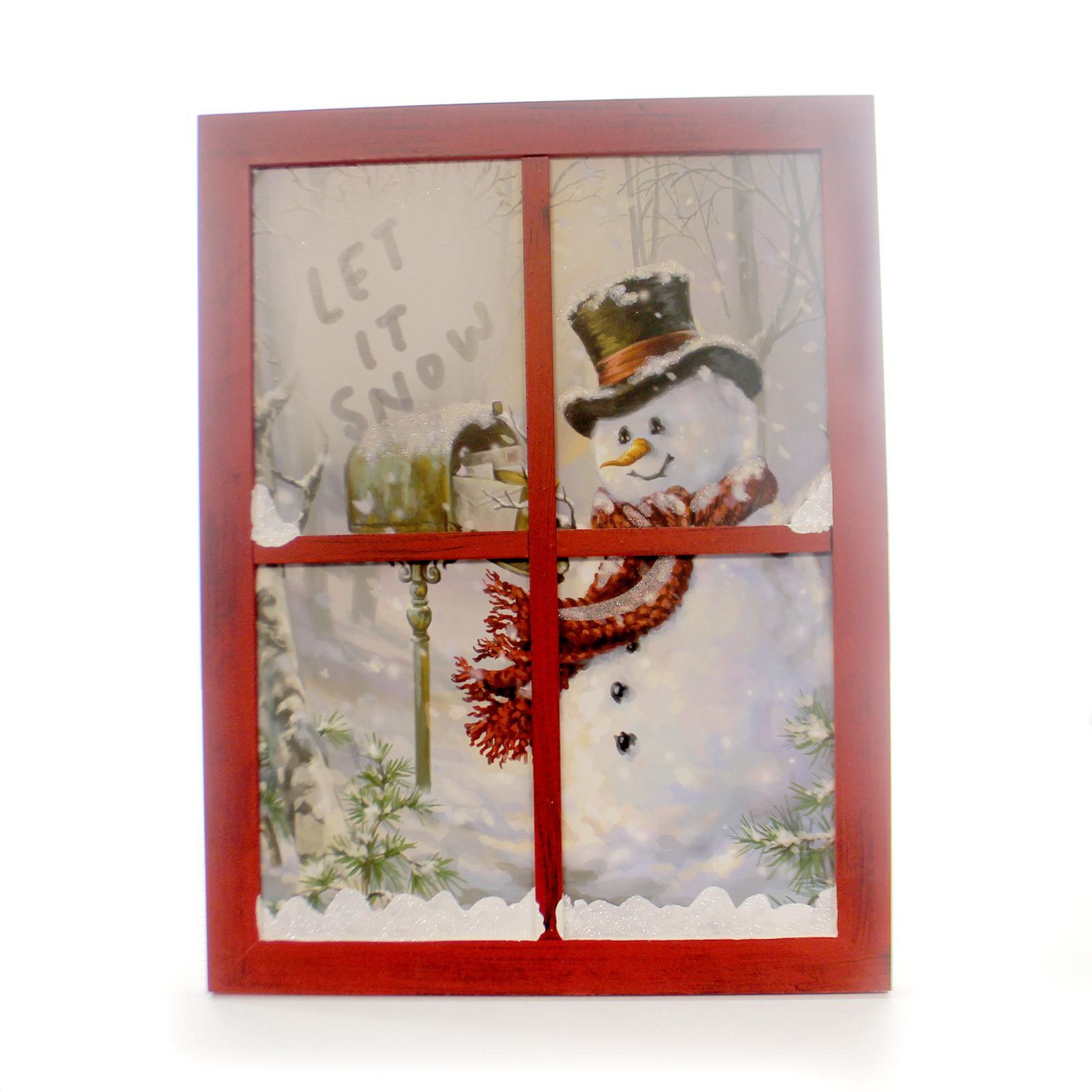 Christmas SNOWMAN AT MAILBOW WINDOW SCENE Wood Christmas 9728838 ...