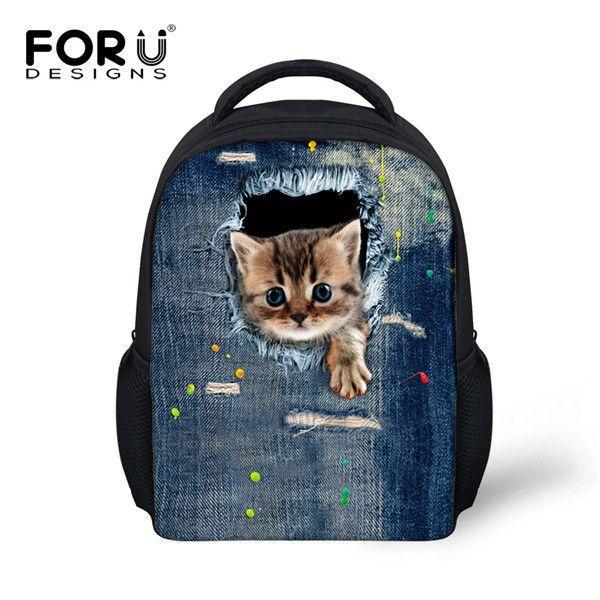 289b0d3952db FORUDESIGNS Children Fashion Shoulder Backpack Cute 3D Cat Kids School Book  Bagpack For Boys Girls Mochilas Infantils Rucksacks