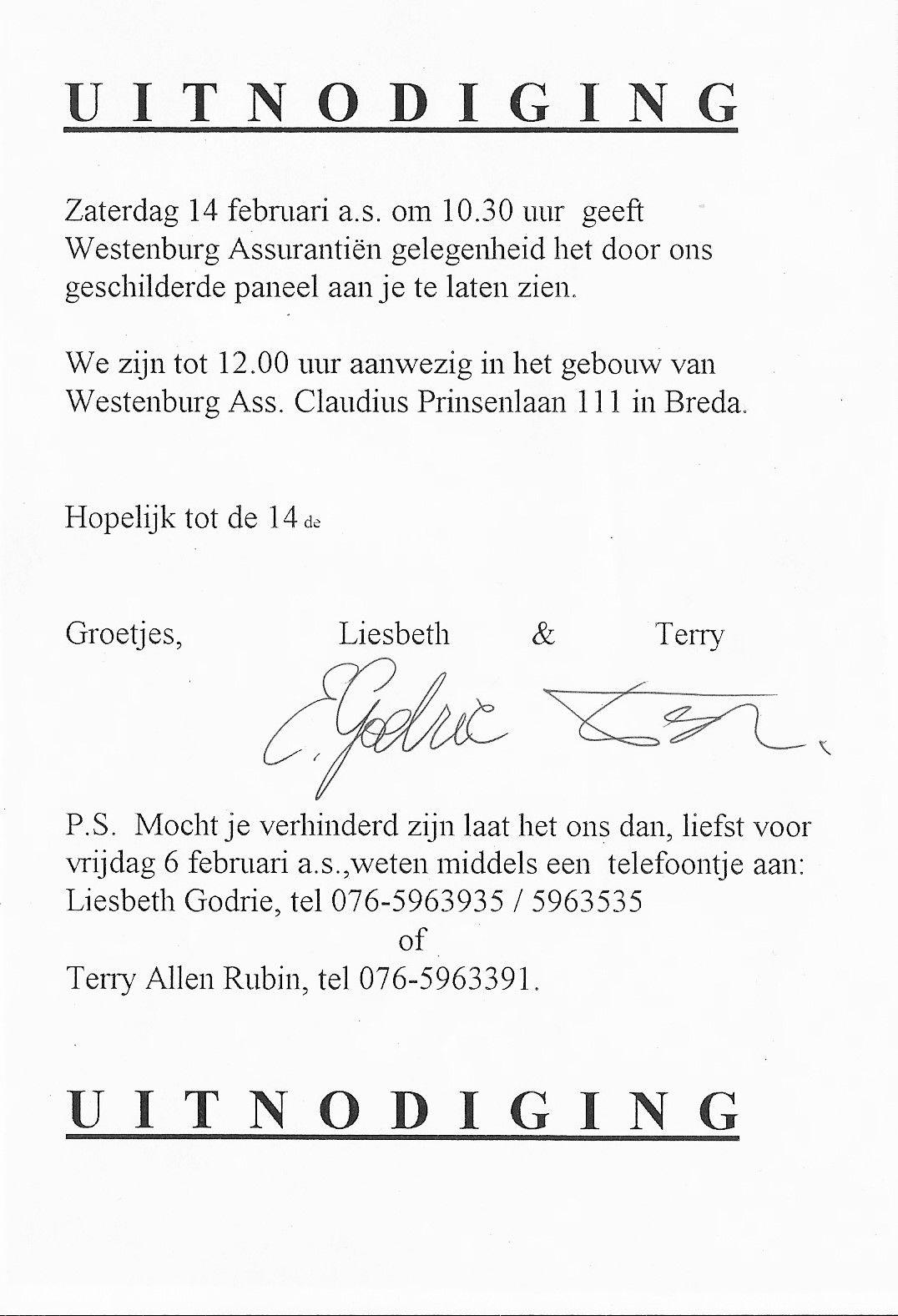 TAR uitnodiging bij WESENBURG BREDA 2000  1=