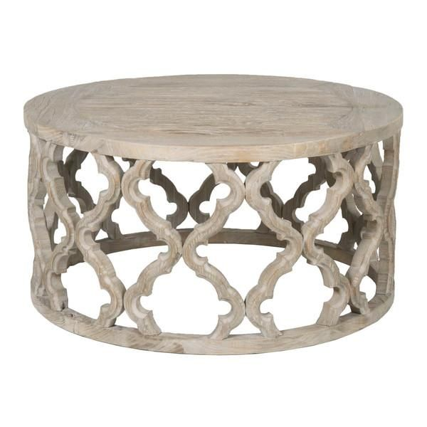Gray Washed Open Fretwork Wood Coffee Table