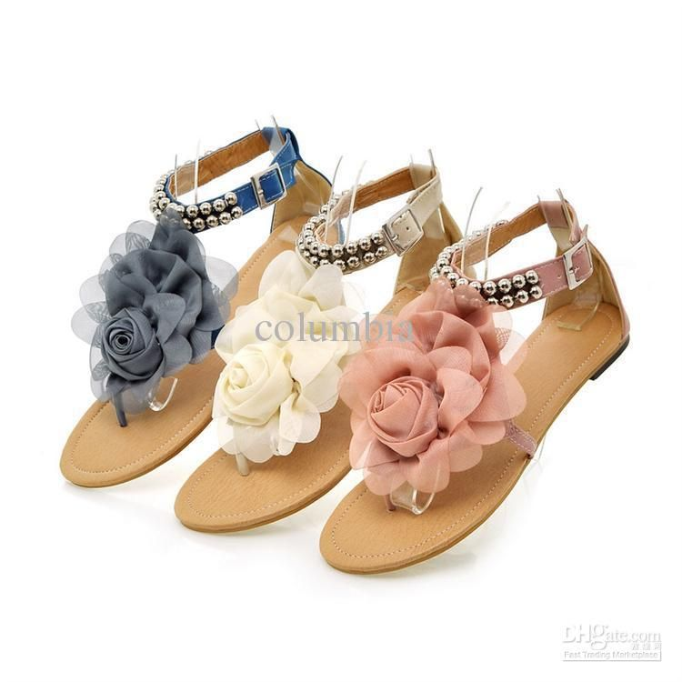 bc0be80dcaa69 2013 New Arrival Sweaty Women Flat Sandals With Flower On Top Beading Strip  Shoes Online with  14.75 Piece on Columbia s Store
