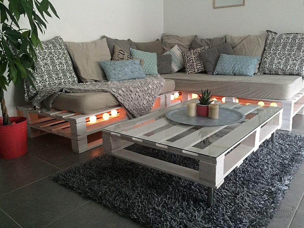 canape en palettes table basse en