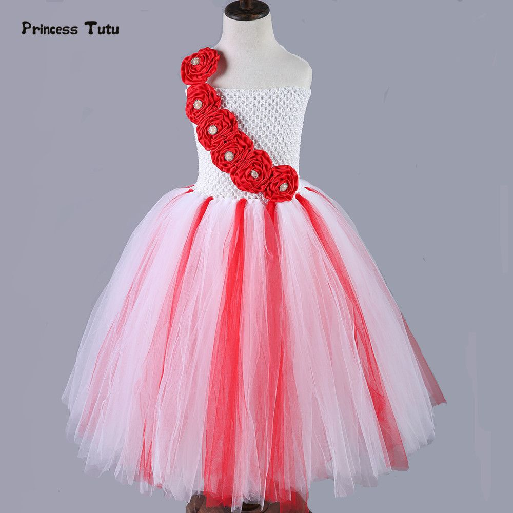 Click to buy ucuc girls christmas dress red white tutu dress girl