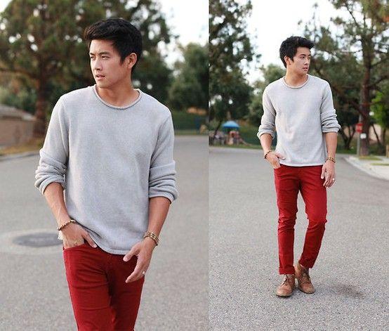 True Red Pants | Classy Style | Pinterest | Fashion, Grey sweater ...