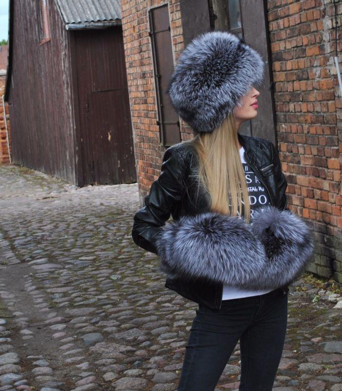 Silver Fox полный мех шапка и варежки Fur mitten, Fur