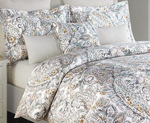 Nicole Miller Home Abbey Paisley 3pc Duvet Cover Set Full/Queen Luxury  Cotton Sateen Large Amazing Ideas