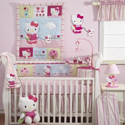 Lambs Ivy 5 Piece Baby Crib Bedding Set Hello Kitty And Friends
