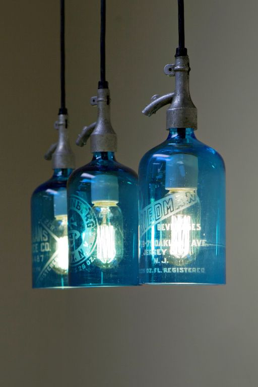 Superb Etched Glass Seltzer Water Bottle Pendant Lights, Clear Or Blue; Price Per  Light