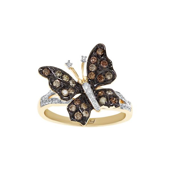 EFFY 3/8 ct. tw. Diamond Butterfly Ring ($1,121) ❤ liked on Polyvore featuring jewelry, rings, brown, band rings, band jewelry, round diamond ring, brown diamond jewelry and butterfly ring