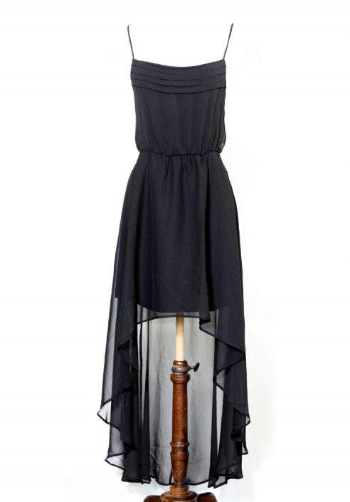 Robe noire longue en voile