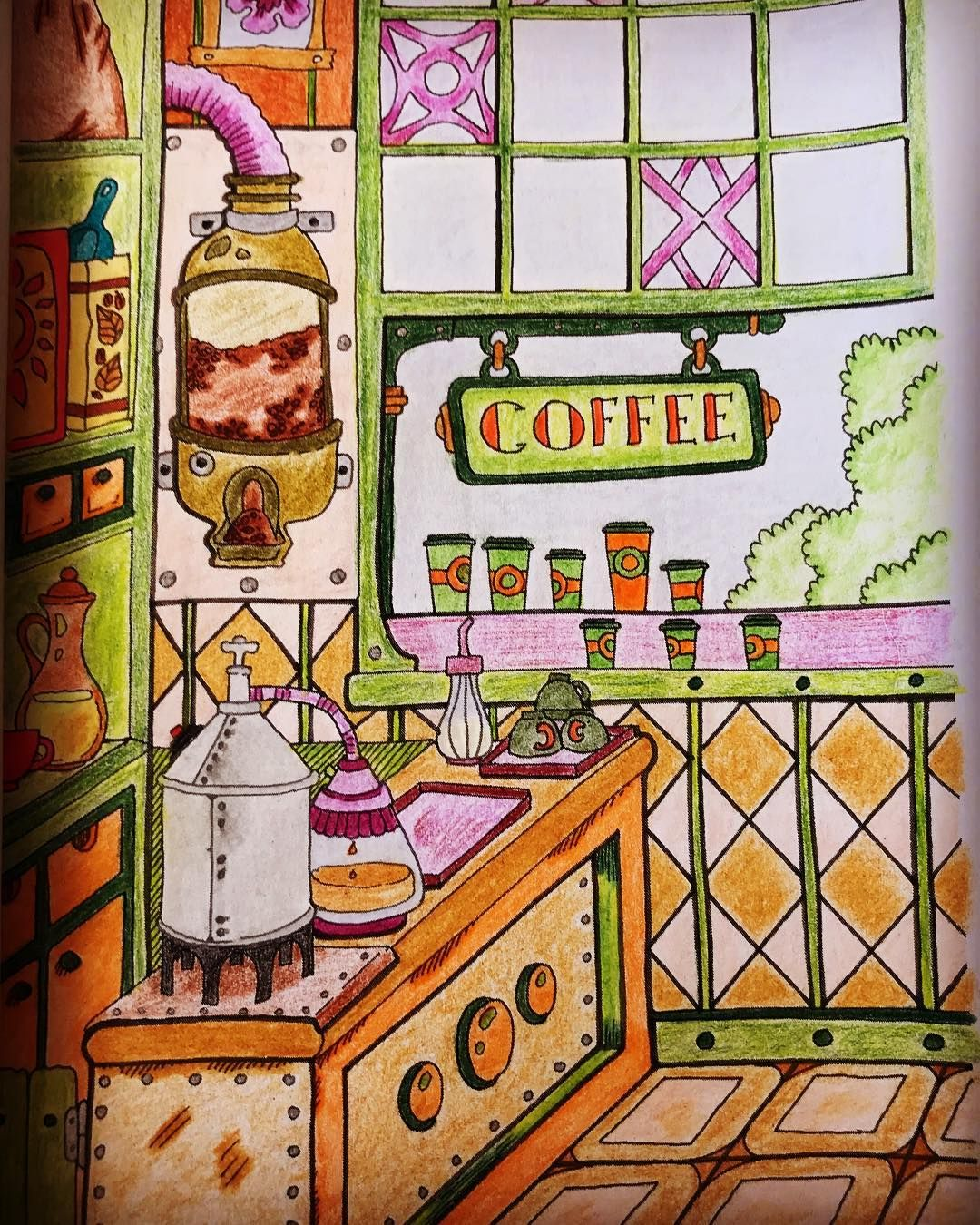 Coffee Shop Ilustracion Illustration Coloring Colouring Arttherapy Art Arte Arts Painting Color Penc Art For Kids Coloring Books Coloring Pages