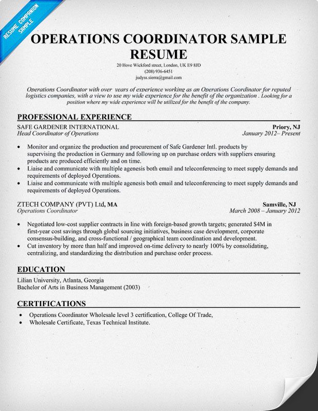 Operations Coordinator Resume Resumecompanion Resume Samples