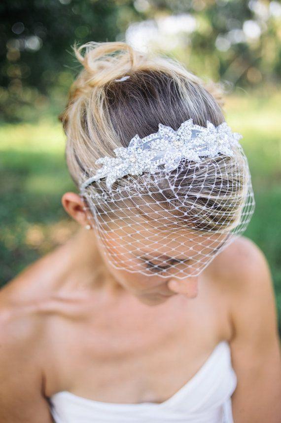 wedding veils, Birdcage veil headband with beaded applique - Pela on Etsy, $48.90