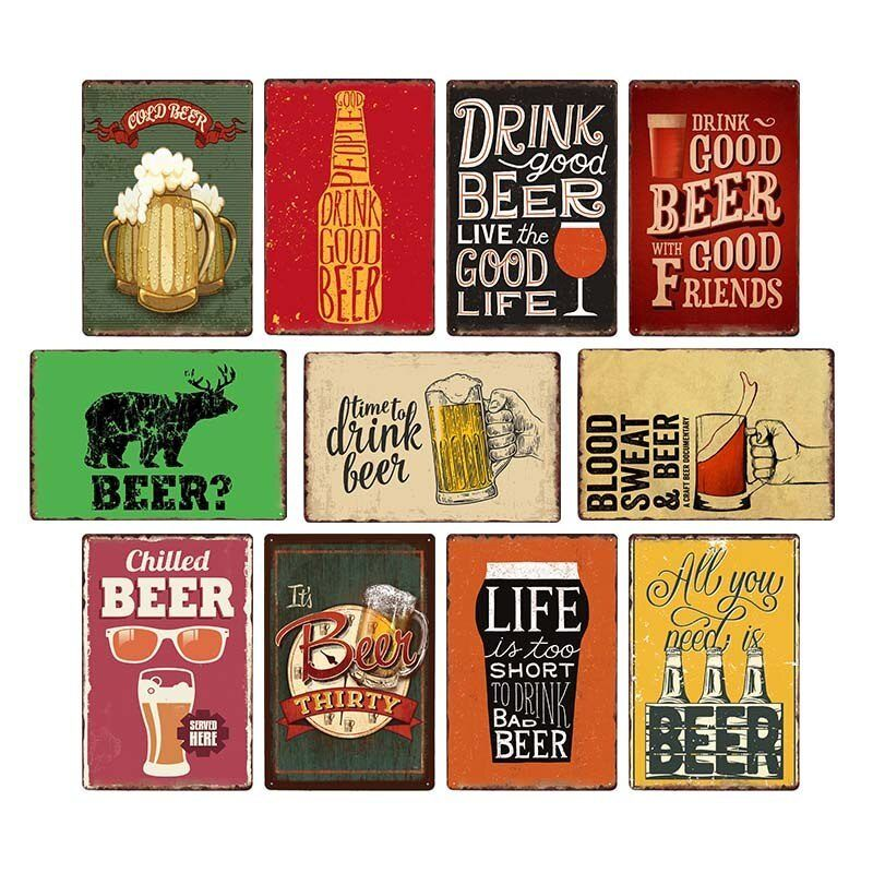 Beer Vintage Metal Tin Sign Shapppy Chic Poster Wall Decor Art