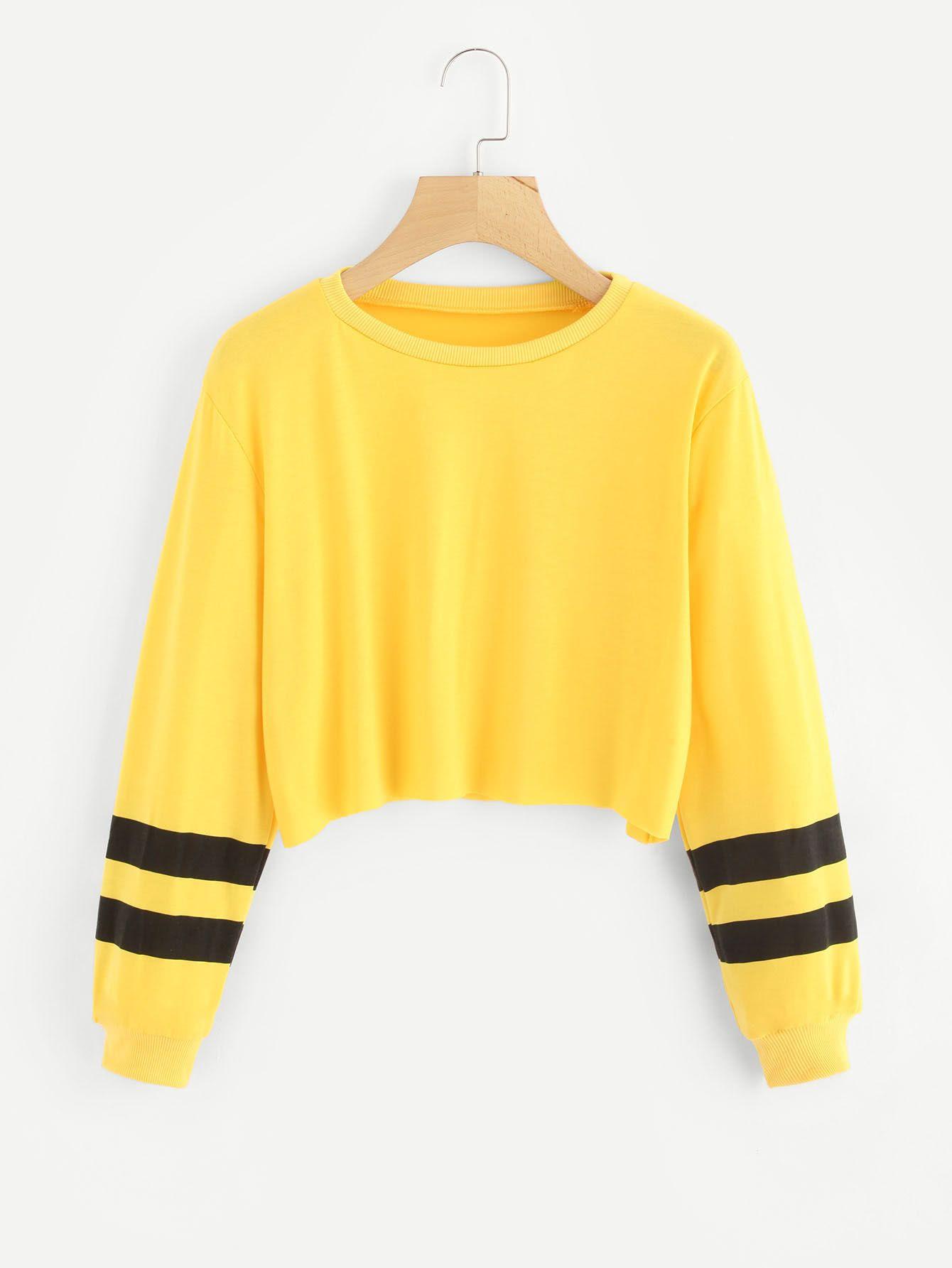 971addb2c04507 Varsity Striped Sleeve Crop Top   Yellow   Sweatshirts, Sleeves, Tops