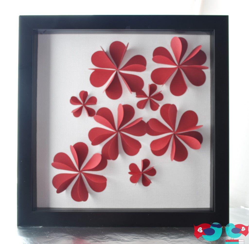 3d flower art using paper hearts 3d paper flower art and 3d. Black Bedroom Furniture Sets. Home Design Ideas