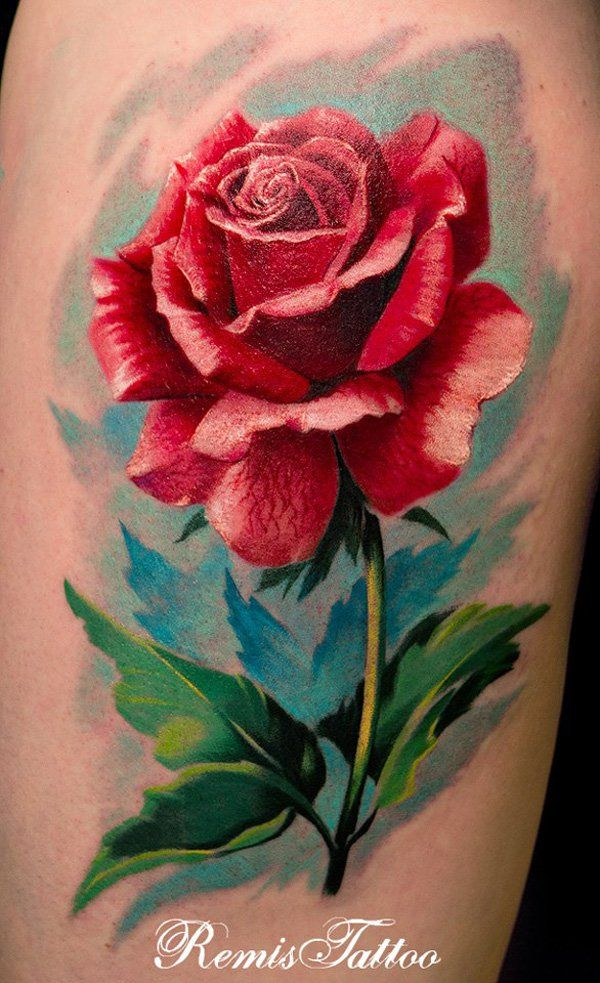 Red Rose Tattoo - A red rose, being the queen of roses, conveys warmth, affection and love. It symbolize the true love.