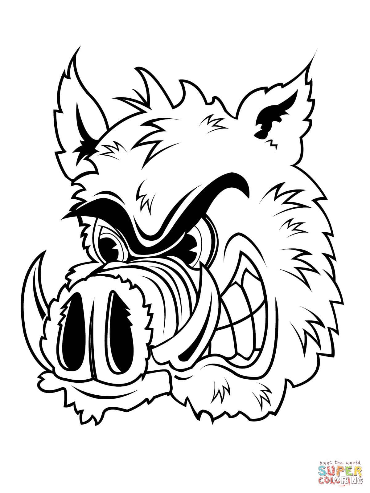 Wild Boar Head Coloring Page From Wild Boars Category Select From
