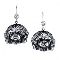 PEKINGESE EARRINGS #ER-42  | These earrings are available in all breeds! | Retail Price: $99.95 | 925 Sterling Silver | Each earring has a small bezel set CZ on top of the dog bead. Please note that these earrings can be special ordered in 10k, 14k or 18k gold. Hand-crafted in the USA, Available at ANDREW GALLAGHER JEWELERS, Newark, DE 302-368-3380. We Ship!
