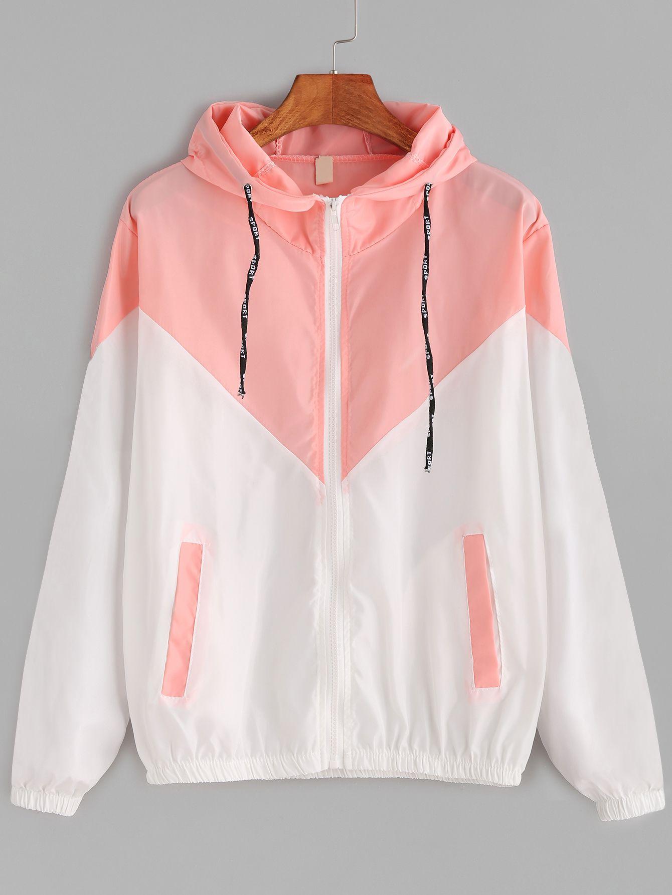 Contrast Drawstring Hooded Zip Up Jacket Mobile Site Em 2019