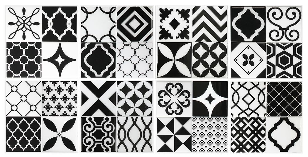 Vintage Bilbao 9-inch x 9-inch Black and White Peel and Stick Decorative Wall Tile (4-Pack)