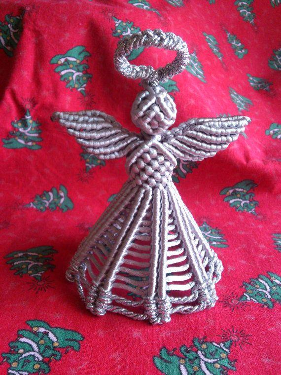 Christmas Macrame Angel Silver Colour By Macrani On Etsy