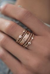 Photo of 14kt gold and diamond Cosmic Constellation band – Luna Skye by Samantha Conn  …