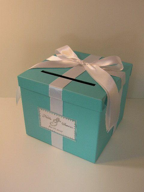 Tiffany Blue Wedding Card Box Gift Card Box Money by bwithustudio, $60.00