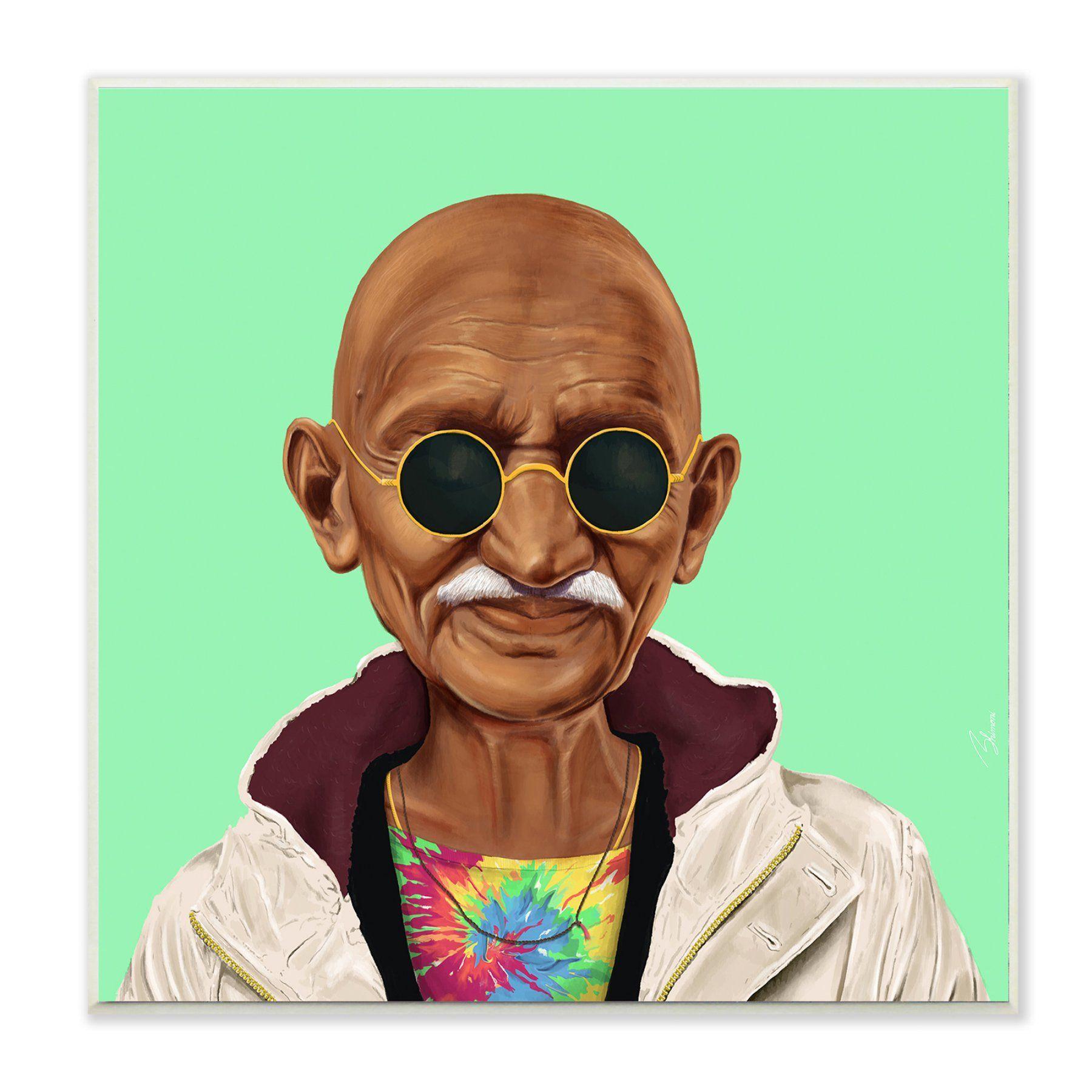 Stupell decor hipstory hipster mahatma gandhi wall plaque