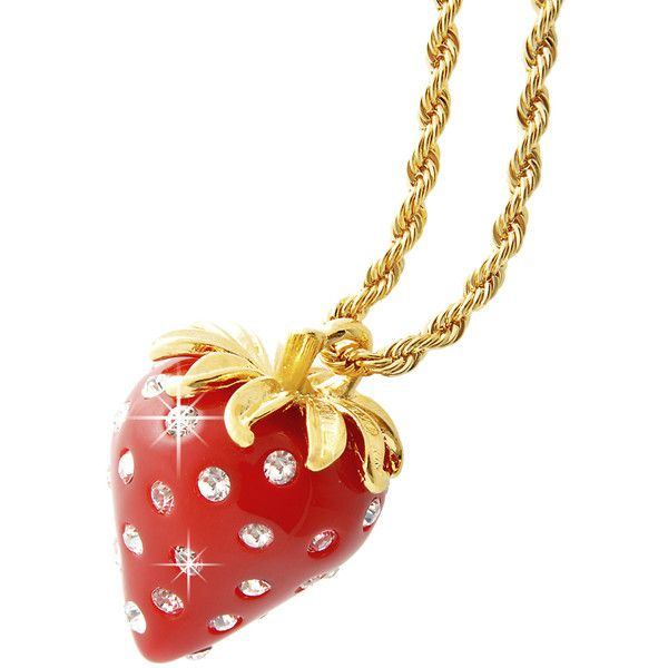 KENNETH JAY LANE Red Crystal Dots Strawberry Pendant ($78) ❤ liked on Polyvore featuring jewelry, necklaces, red, strawberry, red pendant, long crystal necklace, red necklace, red crystal pendant and long necklaces
