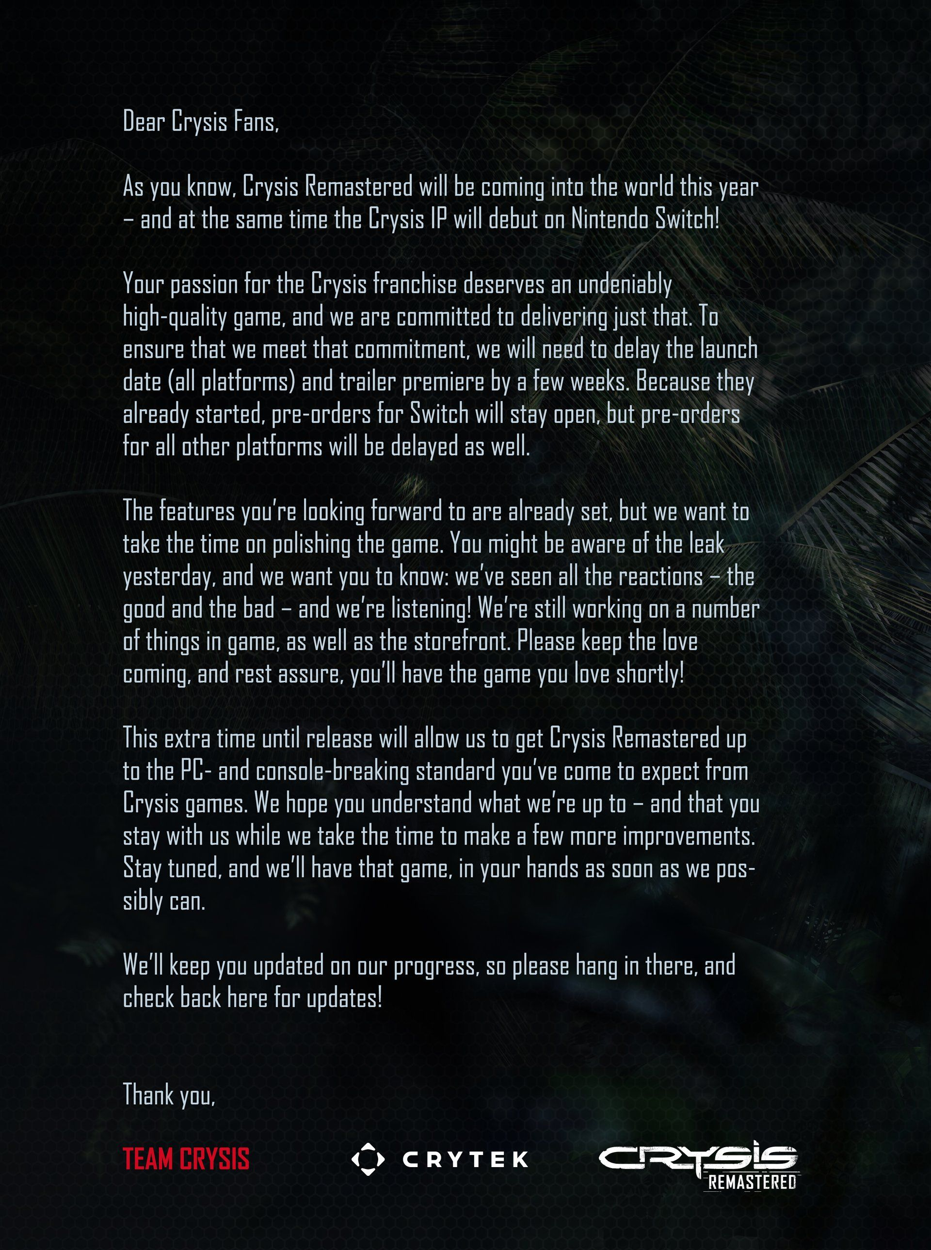 Crytek Delays Crysis Remastered for Quality Assurance in