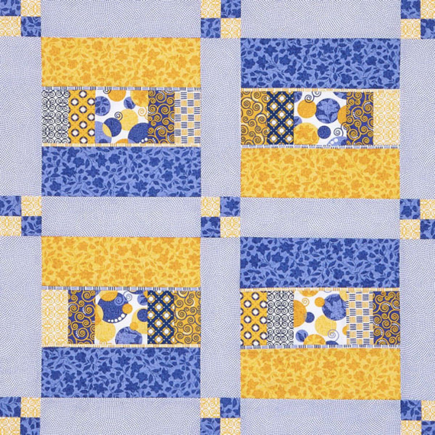 Cheery blue and yellow star in this sunny wall quilt. A variety of ...
