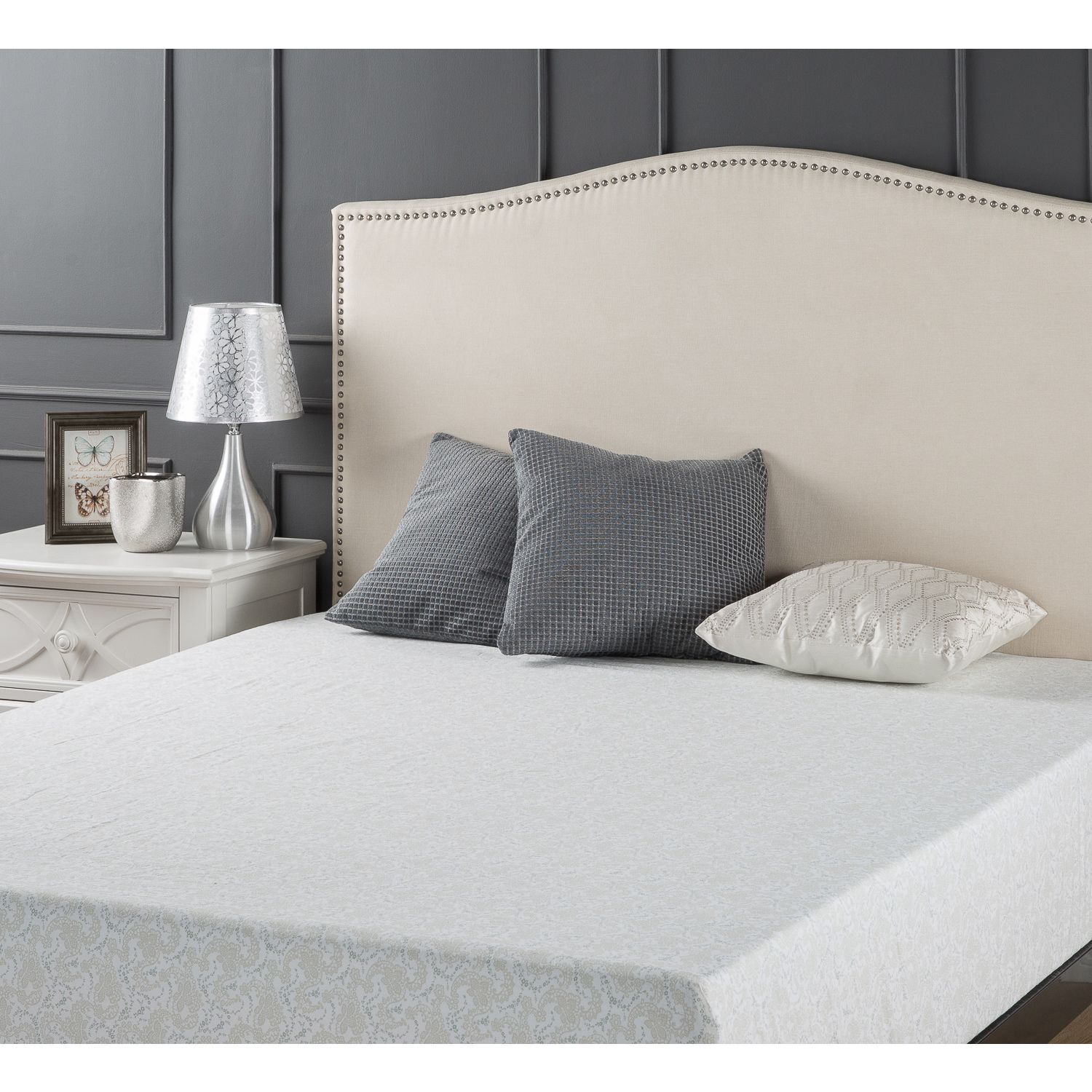 priage upholstered arched nailhead headboard full/queen taupe