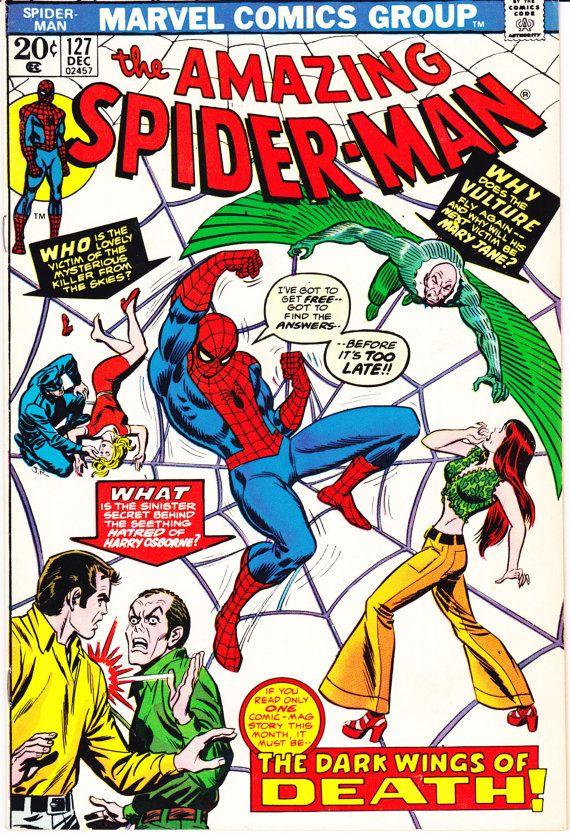 Spiderman 127. Amazing birthday present, Vulture comic book, Spider-Man invitation, Webslinger, Spidey. 1973 Marvel Comics in VF+ (8.5)