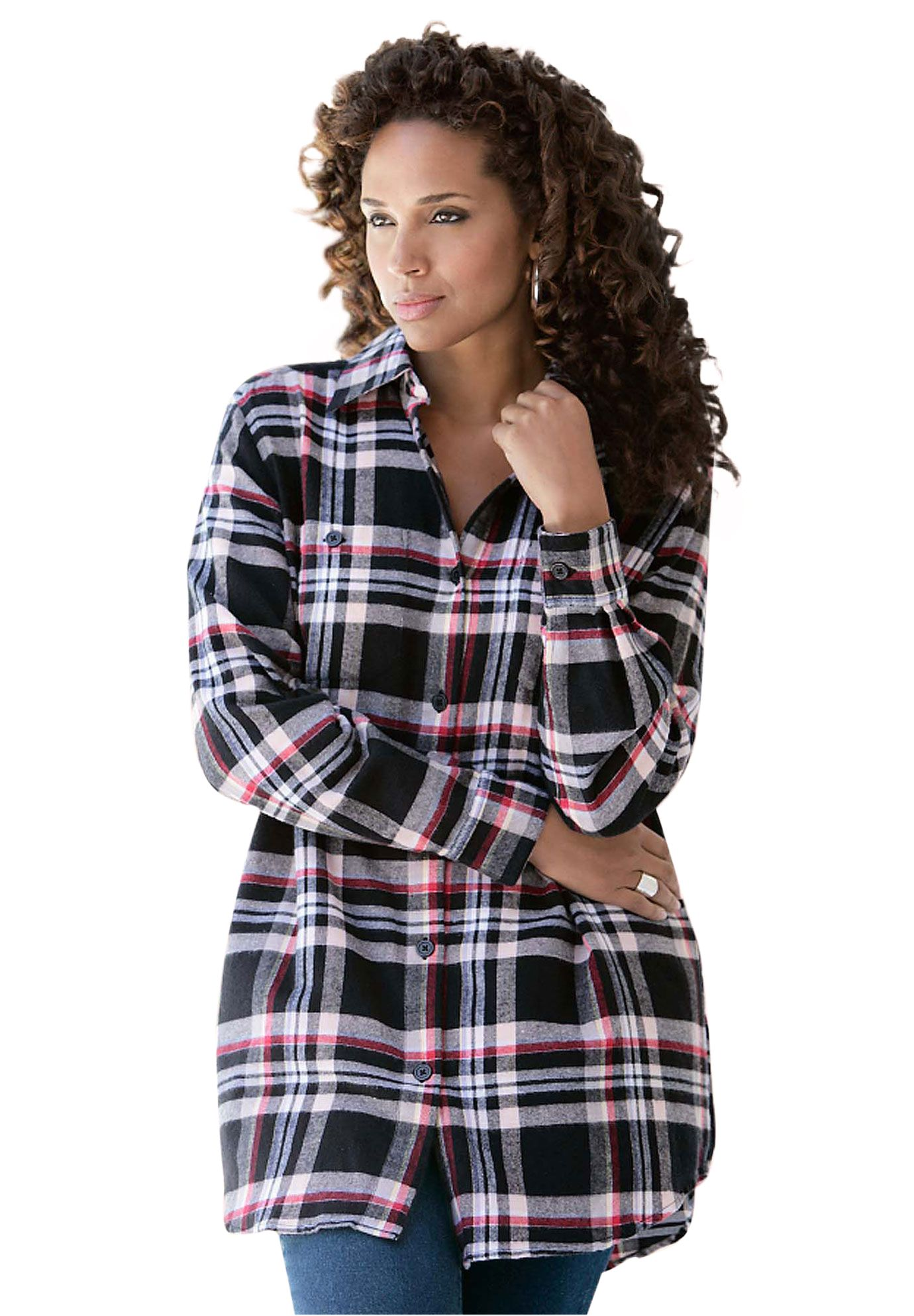 Flannel plaid bigshirt plus size long sleeve onestopplus stuff