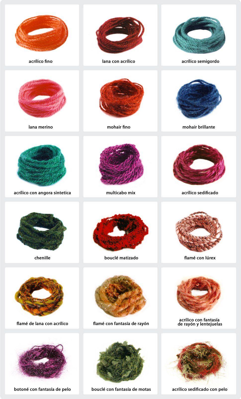 Tipos de hilos para crochet | Crochet muestras | Pinterest