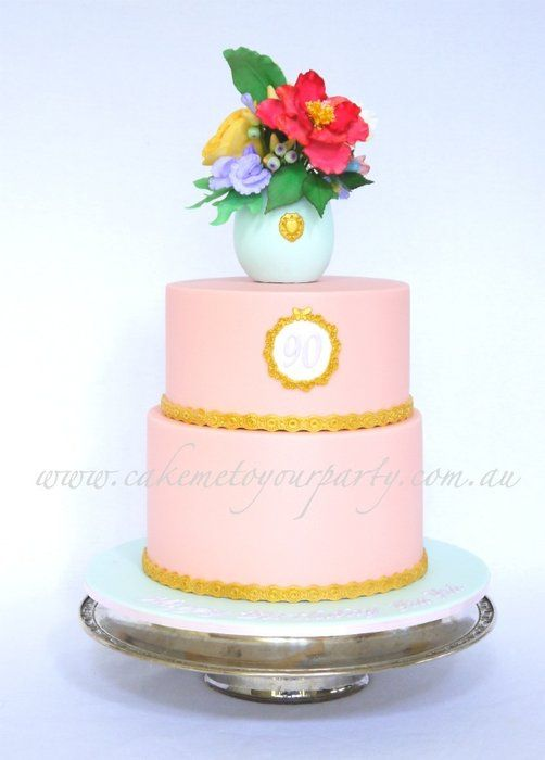 90th Birthday Cake Sugar Vase And Flowers With Gold Accents By