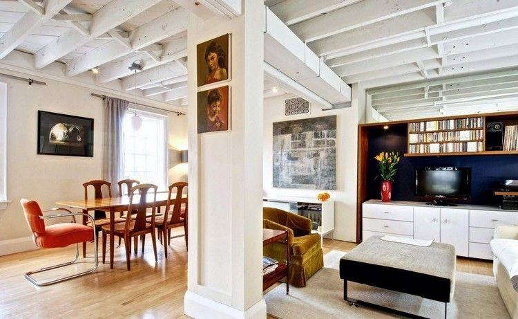 plafond poutre apparente en blanc à effet patiné, ambiance