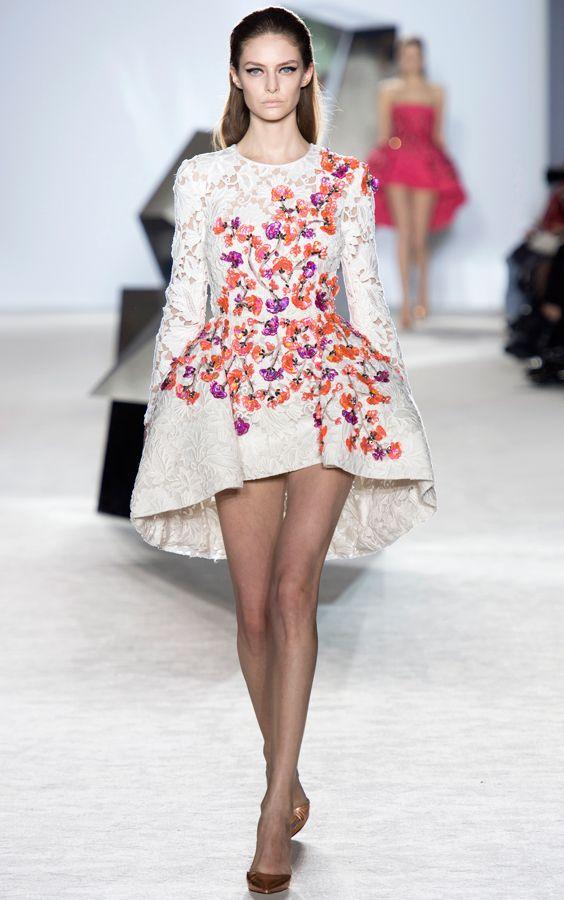 White Dress With Vibrant Fl Embellishment Giambattista Valli Spring Summer 2017 Couture Fashion