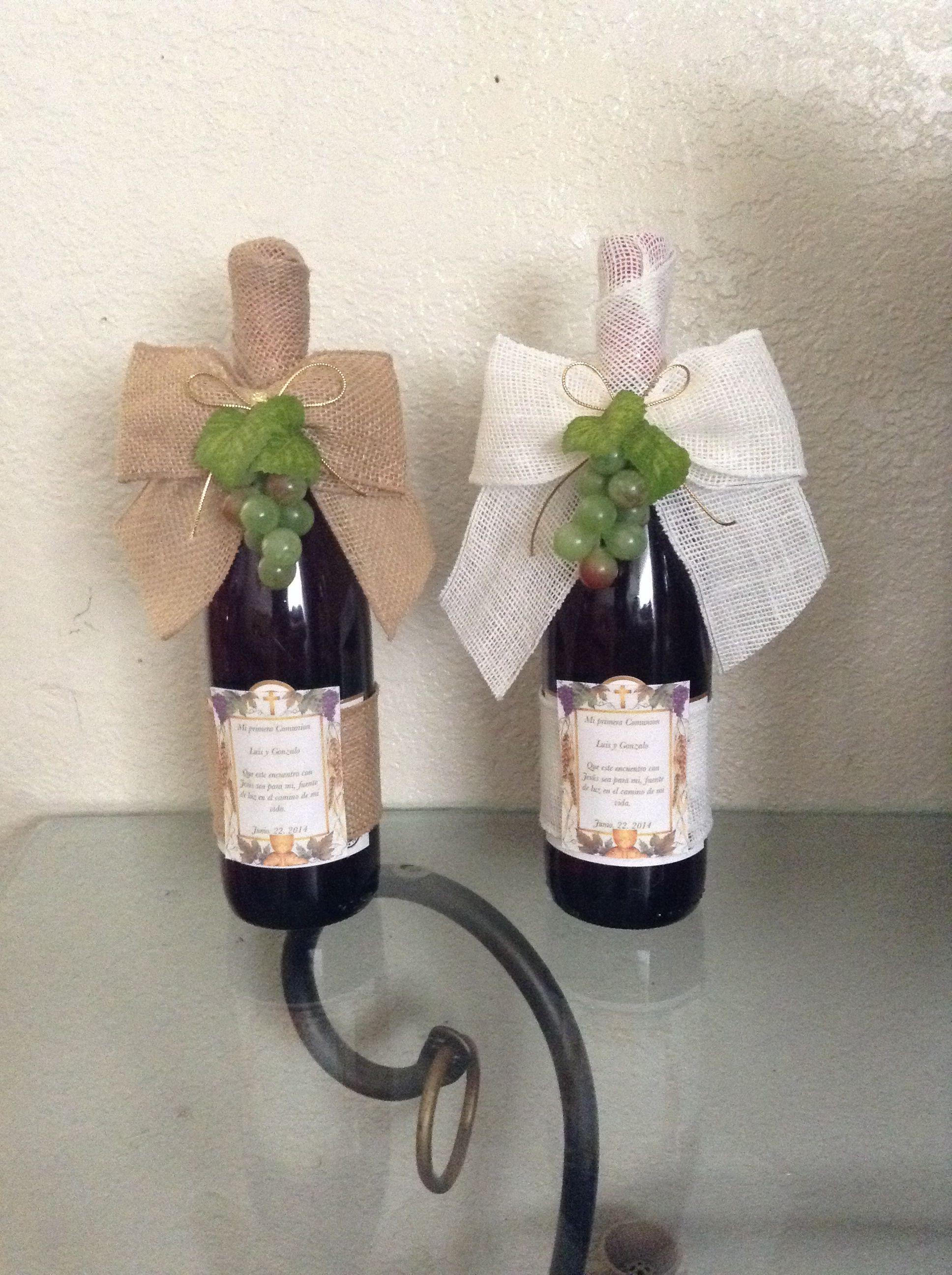 Botellas De Vino Para Regalar En Bautizos.Botellas De Vino Como Centro De Mesa Primera Comunion
