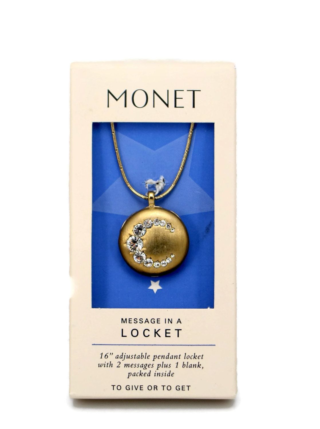 Monet Locket Crescent Moon Rhinestone Pendant Vintage Jewelry