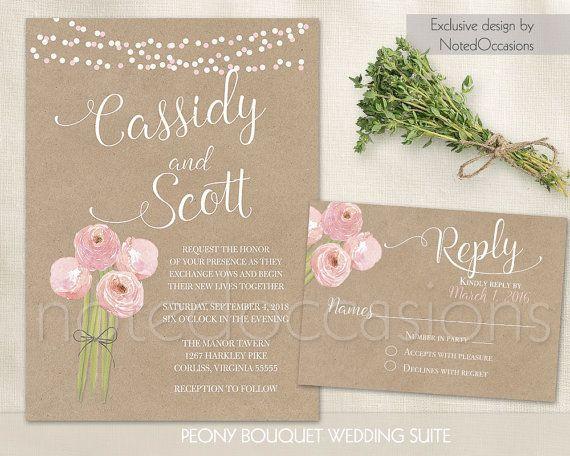 Rustic wedding invitation set printable Peony Wedding Invitations - free engagement party invitation templates printable